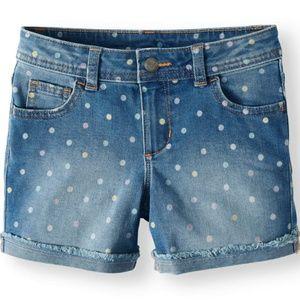 NWT - Girl's Fashion Denim Rolled Cuff Shorts. 14P